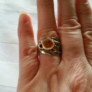 925 Silver Abstract Citrine Ring Sz 8 GL Miller